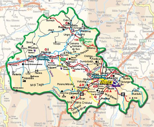 Harta Administrativa A Judetului Brasov Profu De Geogra