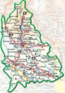Harta administrativa a judetului Dambovita