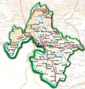 Harta administrativa a judetului Mehedinti