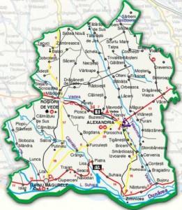 Harta administrativa a judetului Teleorman