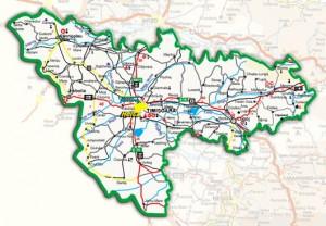 Harta administrativa a judetului Timis
