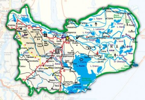 Harta administrativa a judetului Tulcea