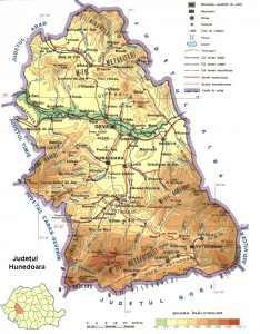 Harta fizica Hunedoara