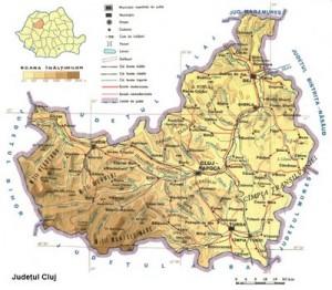 Harta fizica a Judetului Cluj