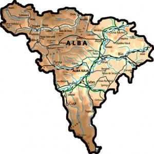 Harta fizica a judetului Alba