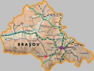 Harta fizica a judetului Brasov