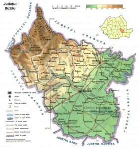 Harta fizica a judetului Buzau
