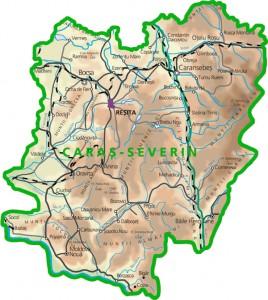 Harta fizica a judetului Caras Severin