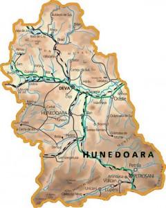 Harta fizica a judetului Hunedoara