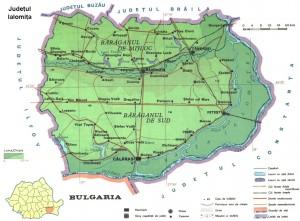 Harta fizica a judetului Ialomita