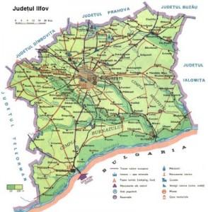 Harta fizica a judetului Ilfov