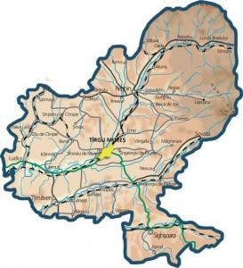 Harta fizica a judetului Mures