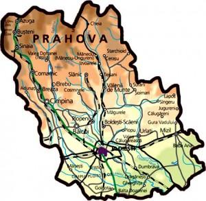 Harta fizica a judetului Prahova