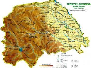 Harta fizica a judetului Suceava.