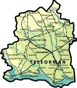 Harta fizica a judetului Teleorman