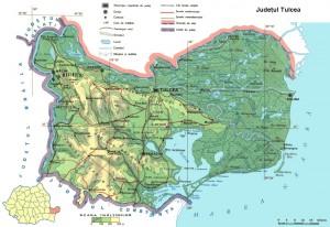 Harta fizica a judetului Tulcea