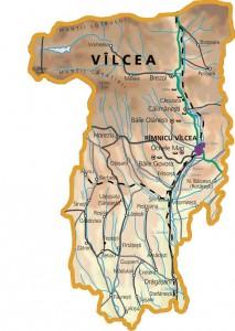 Harta fizica a judetului Valcea