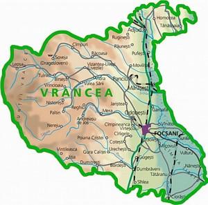Harta fizica a judetului Vrancea