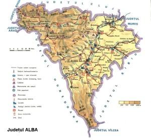 Harta turistica a judetului Alba