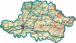 Harta fizica a judetului Arad
