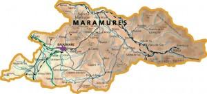 Harta fizica a judetului Maramures
