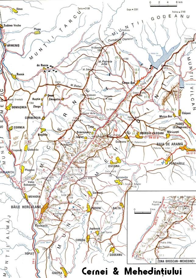 Harta Turistica A Zonei Cernei Mehedinti Carpatii Meridionali