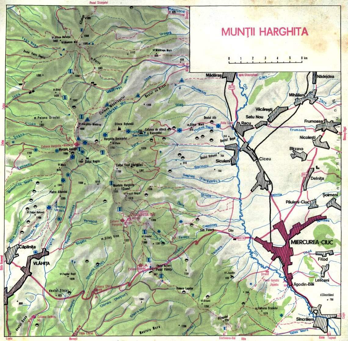 Munţii Harghita Hartă Marcaje An 2016 Romania Natura67