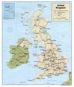 Harta rutiera a Arhipelagului Britanic