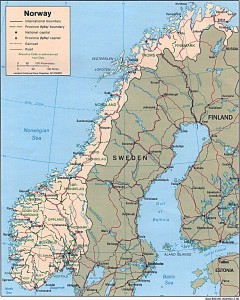 Harta rutiera a Peninsulei Scandinave(Norvegia, Suedia, Finlanda)