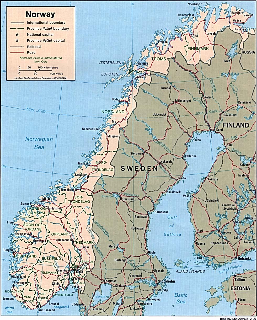 Harta Rutiera A Peninsulei Scandinave Norvegia Suedia Finlanda