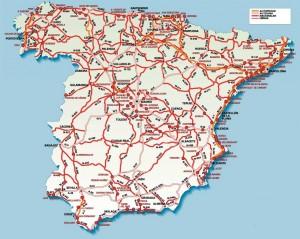 Harta rutiera a Spaniei