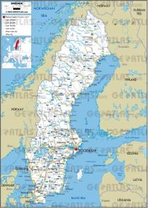 Harta rutiera a Suediei