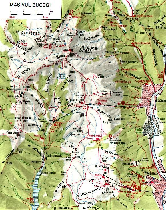 Harta Turistica A Muntilor Bucegi Carpatii Meridionali Profu