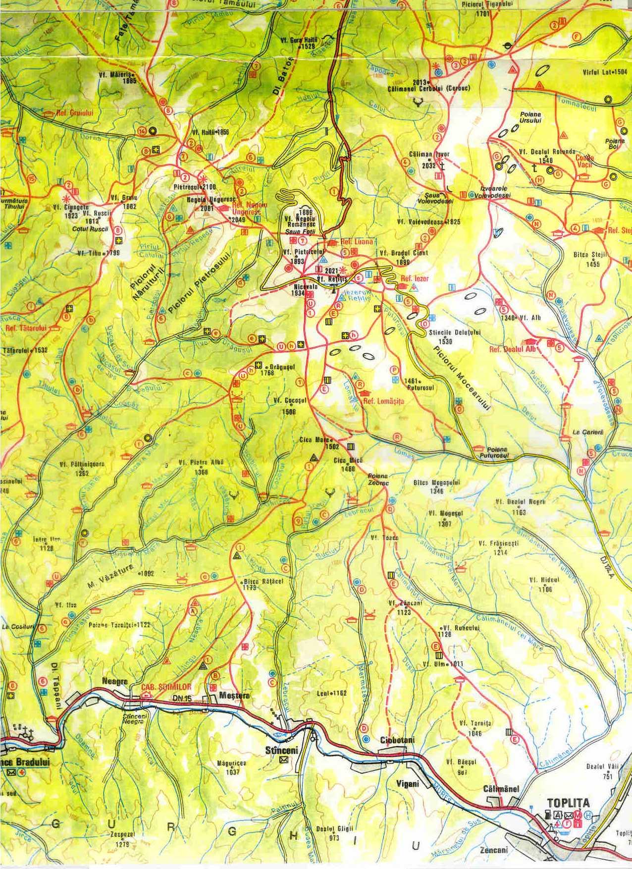 Harta Turistica A Muntilor Calimani Carpatii Orientali Profu