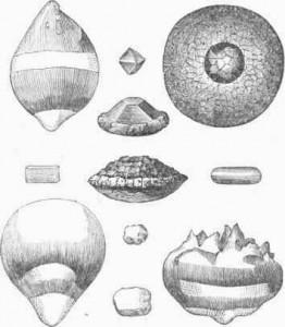 Fragmente de grindina cu forme diferite