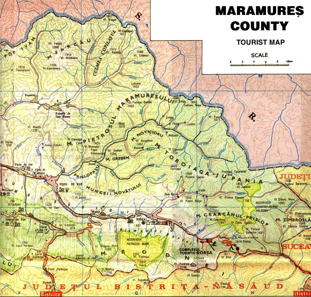 Harta Turistica A Muntilor Maramures Carpatii Orientali Profu