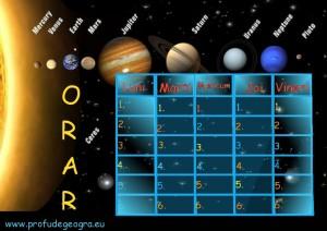 Orar scolar  Sistemul Solar