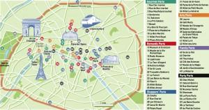 Harta obiectivelor turistice din Paris