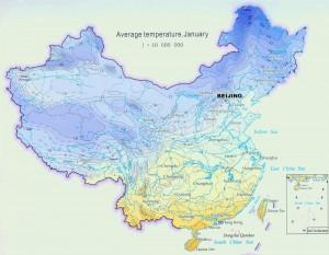 Temperatura lunii ianuarie in China
