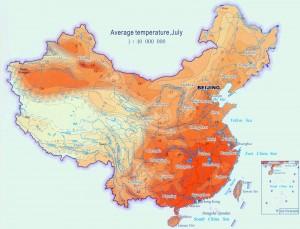 Temperatura medie a lunii iulie in China