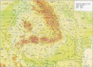 Harta fizico-geografica a Romaniei