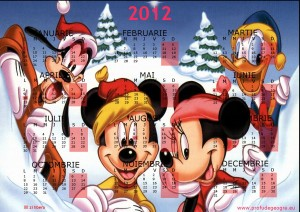 calendar 2012 Mickey Mouse si prietenii