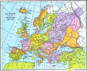 Harta Europei in timpul cruciadelor (1095-1270)