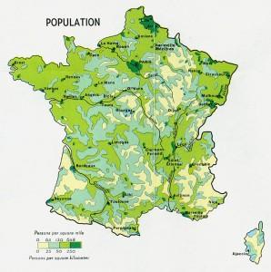 Harta densitatii populatiei in Franta