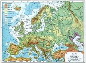 Harta fizica a Europei in 1916