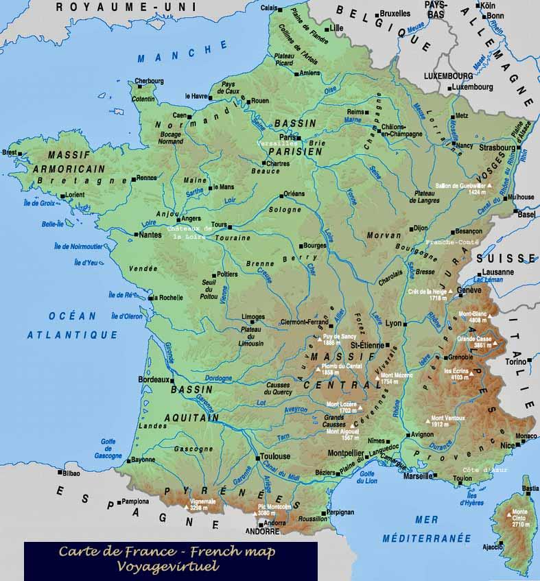 Harta Fizica A Frantei Profu De Geogra