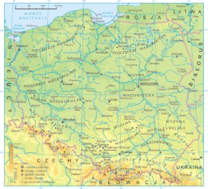 Harta fizica a Poloniei