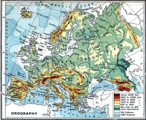 Harta orografica a Europei (1915)
