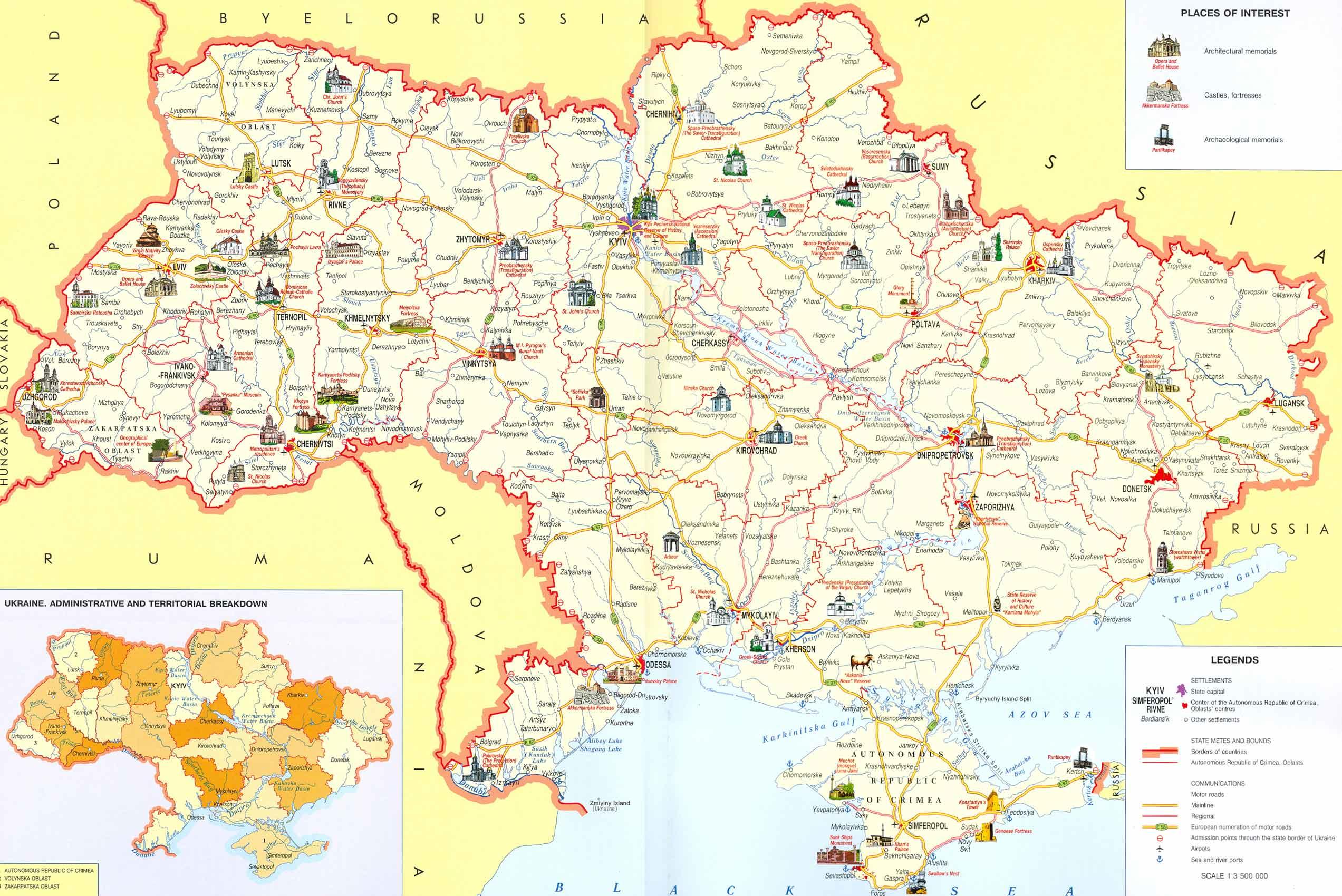 Harta Turistica A Ucrainei Profu De Geogra