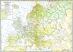 Harta vegetatiei Europei in  1916